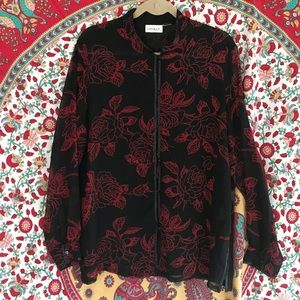Black sheer blouse with red roses - button down